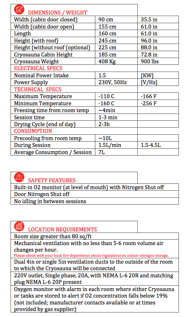 Cryosauna-Specs-Table